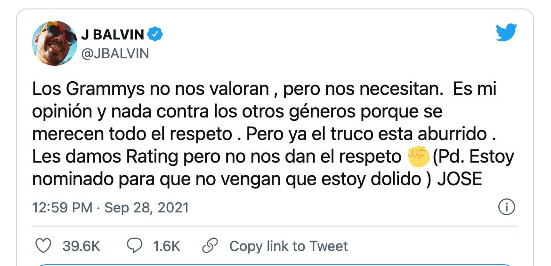 El tweet de J Balbin tras el anuncio de los nominados a los Latin Grammy 2021